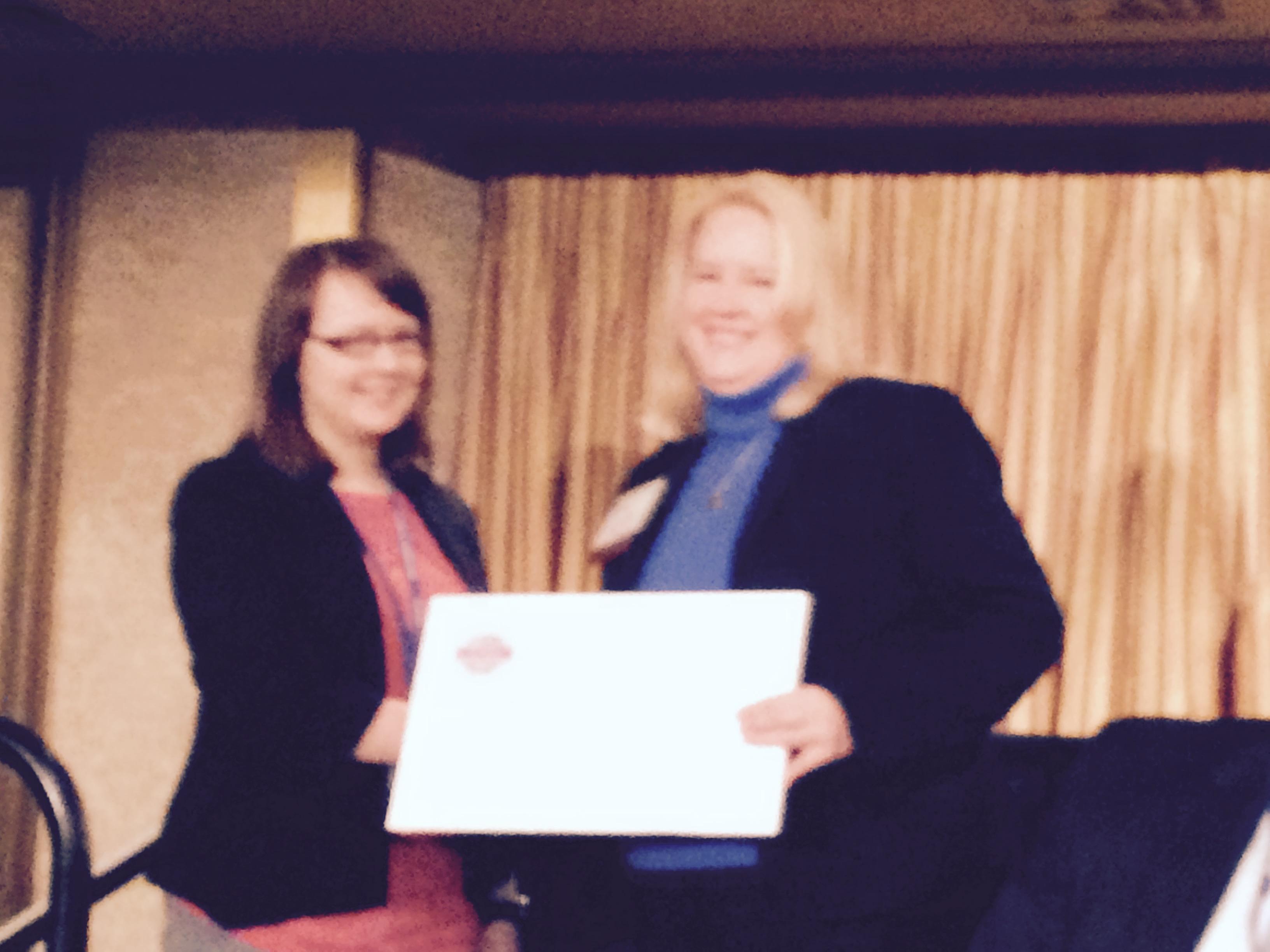 2015 SBW scholarship recipient Alicia Kilian with President Lee Sanders at ATBI Breakfast.